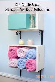 diy crate wall storage system for the bathroom