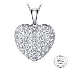 elegant heart necklace images Elegant heart 1 5ct pendant necklace made with 925 sterling silver jpg