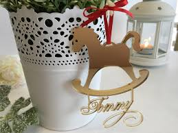personalized gold mirror rocking horse ornament first christmas