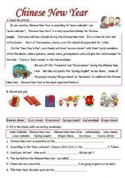 english teaching worksheets chinese new year
