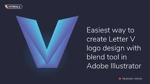 create letter v logo with blend tool in adobe illustrator youtube