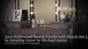 Hollywood Swank Bedroom Furniture Aico Hollywood Swank Vanity With Bench Set 3 Piece In Amazing