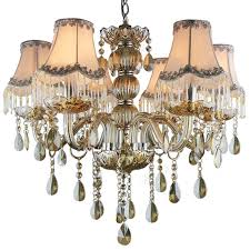 Bronze Chandelier With Shades 6 Light Fabric Shade Cognac Color Crystal Chandeliers Cheap