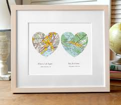 wedding gift map two hearts map print wedding or engagement gift two map