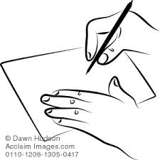 image of simple line drawing of a hand writing