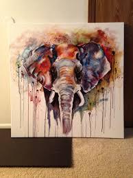 beautiful colorful acrylic painting elephant by olga cuzuioc sinchevici