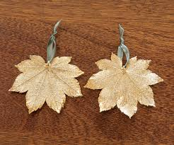 gold dipped maple leaf ornament