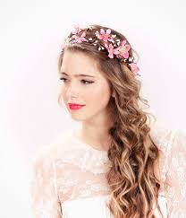 headband flowers pink flower crown wedding headpiece flower crown bridal