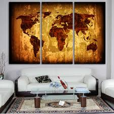 home decor dropship hd 3 piece vintage posters canvas world map monuments wall art
