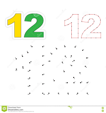 vector numbers game dot to dot figure twelve stock vector