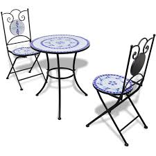 Mosaic Table L Bistro Table Chairs 2 18 Mosaic 60 Cm With Blue White L 356281