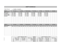 Excel Shift Schedule Template Employee Shift Schedule Template