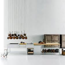cuisine monobloc cuisine contemporaine en inox en plaqué bois avec îlot