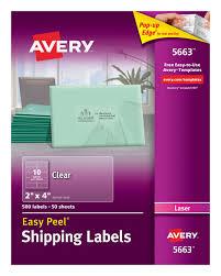 avery easy peel u0026reg shipping labels clear 500 labels 5663