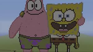 spongebob and patrick spongebob mc speed build minecraft pixel