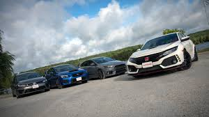 compact cars vs economy cars honda civic type r vs subaru wrx sti vs vw golf r vs ford focus rs