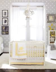 Yellow Curtains Nursery by Superb Chandelier And White Crib For Impressive Baby Nursery Ideas