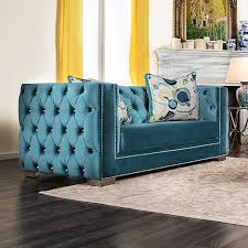 Teal Sofa Set by Salvatore Modern Victorian Turquoise Premium Velvet Fabric 2pcs