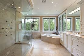 master bath in new construction home with large glass shower stock master bath in new construction home with large glass shower stock photo 6738895