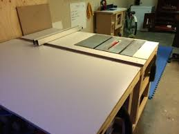 table saw station plans table saw station reconstruction woodworking talk woodworkers forum