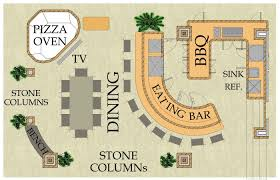 outdoor living floor plans outdoor living kitchen pizza oven bar and dining area california