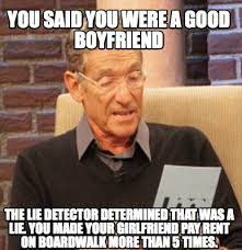 That Was A Lie Meme - meme creator you said you were a good boyfriend the lie detector