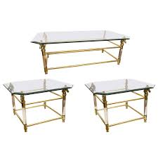 set of vintage french brass and lucite horse head glass top tables