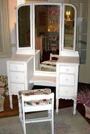 Antique White Vanity Desk Vanity Table Antique White Vanity With Tri Fold Mirror And