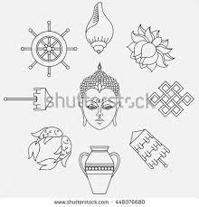Buddhist Treasure Vase Buddhist Symbolism 8 Auspicious Symbols Buddhism Stock Vector