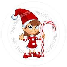 cartoon christmas elf character in red holding candy cane by