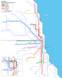 Chicago Bus Routes Map by Map Of Chicago Subway El Lines And Inner Portions Of Commuter Rail