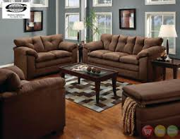 Luna Chocolate Sofa  LoveSeat Casual MicroFiber Living Room Set - Microfiber living room sets