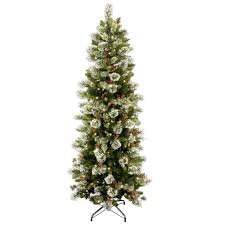 national tree company 7 1 2 ft wintry pine slim hinged artificial