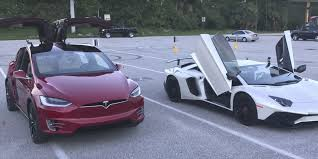 slowest lamborghini tesla model x all electric suv beats lamborghini aventador with