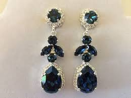 navy blue earrings navy blue swarovski embellished teardrop bridal