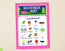 scavenger hunt printable instant download outdoor birthday