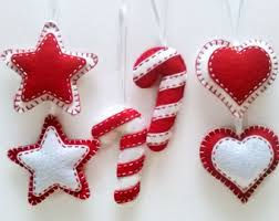 White Heart Christmas Decorations by Felt Christmas Ornaments Felt Bird Ornament Red White Bird
