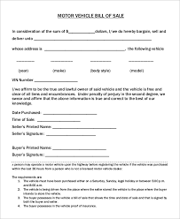 Auto Dealer Bill Of Sale Template by Sle Car Bill Of Sale 8 Exles In Pdf