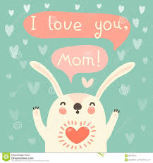 greeting card for mom with cute rabbit royalty free stock image