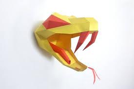 Origami Snake - diy papercrafts snake trophy paper by paperamaze on zibbet