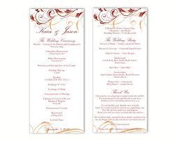 Wedding Program Templates Word Wedding Program Template Diy Editable Text Word File Download