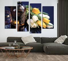 aliexpress com buy 4 piece beautiful tulip flowers wine painting