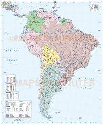 Physical Map South America by Digital Vector South America Map Deluxe Political Road U0026 Rail Map