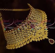 bridal choker necklace images Nl10476 ruby polki matte light gold sparkling stones grand bridal JPG