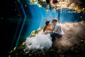 underwater wedding and erich s riviera cenote trash the dress