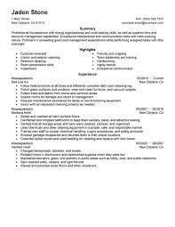 Hospitality Resume Samples by Best Houseperson Resume Example Livecareer
