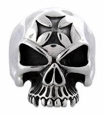 silver iron cross skull ring