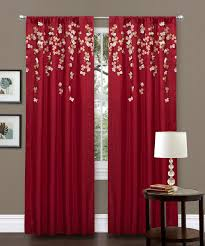 Lush Decor Red Faux Silk Inch Flower Trends With Curtains For