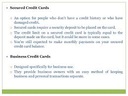 Secured Credit Card For Business Consumer Credit