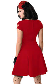 stylish retro red short sleeve keyhole flare dress wholesale